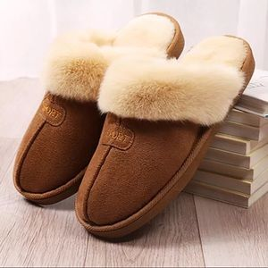 Shoes - Fuzzy faux fur slip on flats mules brown slipper